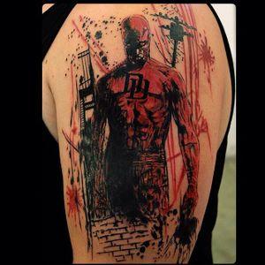 Daredevil tattoo by Ewer Sumati #Daredevil #Marvel #Superhero #comic #EwerSumati