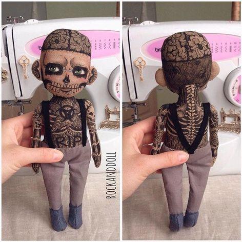 Zombie Boy doll by Christina Tselykovskaya. #ChristinaTselykovskaya #KristinaTselykovskaya #Rockanddoll #tattooeddolls #craft #art #doll #zombieboy