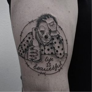Sad Clown tattoo by Andrey Kichatiy #AndreyKichatiy #drinktattoos #linework #illustrative #blackwork #barbedwire #beer #clown #sadclown #polkadots #quote #life #beautiful #drunk #alcohol