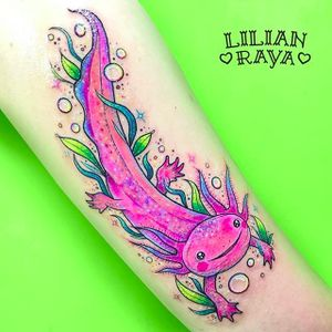 Cute ass axolotl by Lilian Raya (via IG -- lilianraya) #lilianraya #axolotl #axolotltattoo