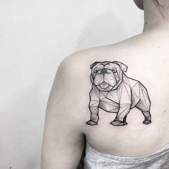 Bulldog tattoo by Fin T. #FinT #malaysia #geometric #animal #origami #pointillism #dotwork #bulldog #dog
