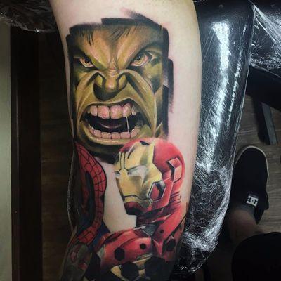 Tattoo por Connor Prue! #ConnorPrue #blackandgrey #realism #realismo #pretoecinza #blackandgreyrealism #marvel #heroes #ironman #hulk #homemdeferro #geek #nerd #comics