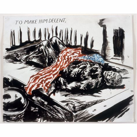 A politically charged piece from the show. #raymondpettibon #art #blackflag #punk #museum