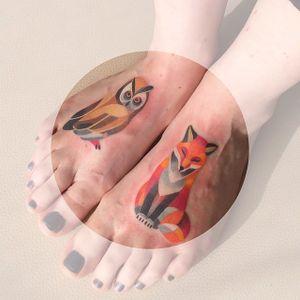 Watercolor fall friends by Sasha Unisex (via IG-sashaunisex) #owl #fox #watercolor #geometric #animals #fall #autumn #color #sashaunisex