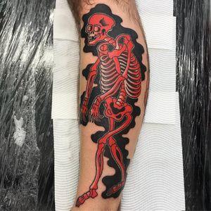 Skeleton tattoo by Horifuku #Horifuku #yokaitattoos #color #skeleton #death #Japanese #yokai #ghost #demon #spirit #folklore #legend #spooky #possessed #creature #surreal #weird