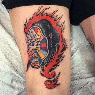 Gorilla Tattoo by Gregory Whitehead #gorilla #gorilltattoo #traditionalgorilla #edhardyinspired #edhardygorilla #GregoryWhitehead