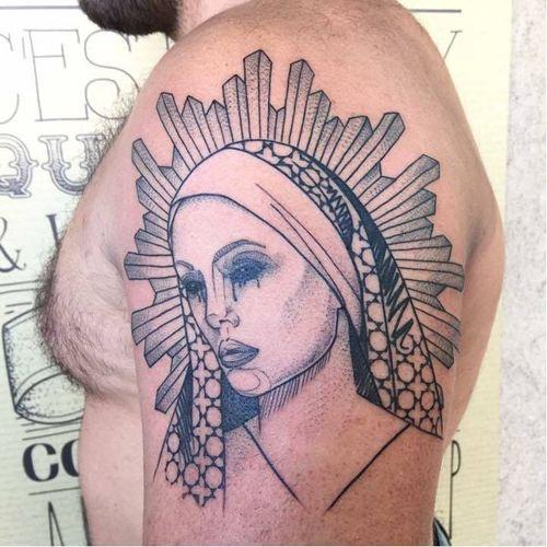 Saint tattoo by Laurent Z #LaurentZ #saint #graphic #blackwork