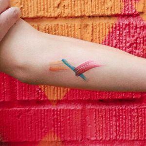 Brushstroke tattoo by Georgia Grey. #GeorgiaGrey #bangbangnyc #painting #brushstroke