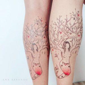 Fine line tattoo by Ana Abrahão. #AnaAbrahao #fineline #subtle #pastel #mermaid #tree