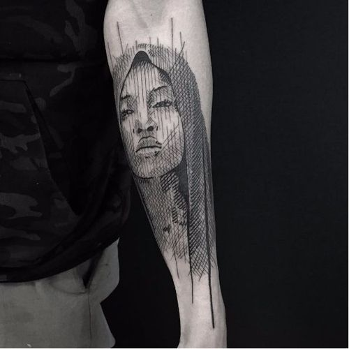 Sketch style tattoo by Andre Cast #AndreCast #blackwork #sketch #sketchstyle #graphic