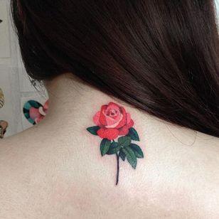 Red rose via instagram zihee_tattoo #rose #flower #floral #watercolor #colorful #illustrative #zihee