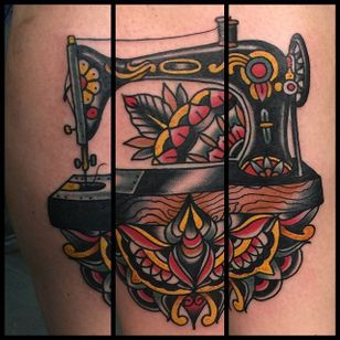 Sewing Machine Tattoo by Jaysin Burgess #sewingmachine #traditional #vintagetattoos #JaysinBurgess #vintage