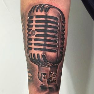 Stunning microphone tattoo by Nate Graves. #NateGraves #Sacred #michigan #blackandgrey #realistic #microphone