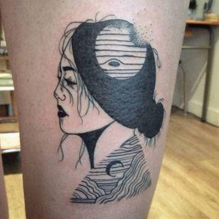 Blackwork tattoo by Kim Tran #KimTran #illustrative #graphic #blackwork #portrait #surrealistic