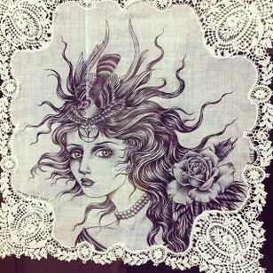 Nest via instagram maryjoytattoo #handkerchief #flashart #art #woman #rose #bird #nest #maryjoy