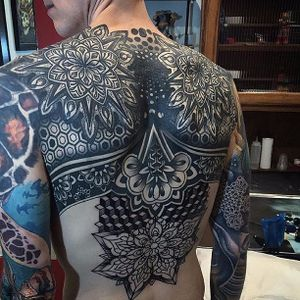 Tattoo by Brandon David #patternwork #patternworktattoo #backpiece #backpiecetattoos #backtattoo #blackwork #blackworktattoo #BrandonDavid
