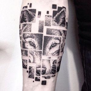 Wolf tattoo by Vytautas Vy. #VytautasVy #blackwork #dotwork #box #wolf