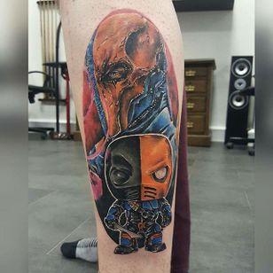 Deathstroke Tattoo, artist unknown #Deathstroke #DeathstrokeTattoos #DeathstrokeTattoo #DCComics #DCTattoos #ComicTattoos #DCTattoos #VillainTattoos