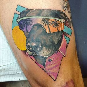 80s themed staffy pet portrait by @theleisurebandit. #neotrad #neotraditional #80s #dog #petportrait #staffy #theleisurebandit