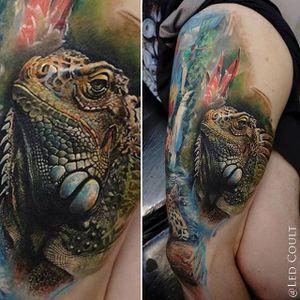 Iguana Tattoo by Led Coult #iguana #iguanatattoo #lizardtattoo #lizardtattoos #reptiletattoo #reptiletattoos #reptile #lizard #realisticlizardtattoo #realisticiguana #LedCoult