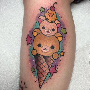Rilakkuma Ice Cream Tattoo by Alex Strangler #popsicle #popsicletattoo #popculture #gamertattoos #movie #AlexStrangler