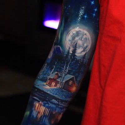 Heaven by Jesse Rix #JesseRix #realism #realistic #hyperrealism #color #sky #stars #night #auroraborealis #snow #cabin #lake #reflection #ice #forest #mountains #moon #light #tattoooftheday