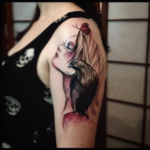 Plenitude #VictorMontaghini #brasil #brazil #tatuadoresdobrasil #brazilianartist #estilorascunho #sketchstyle #watercolor #aquarela #woman #girl #mulher #garota #corvo #raven #passaro #bird #butterfly #borboleta
