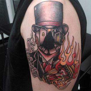 Jack the Ripper tattoo by i_talk_trash on Instagram.#JacktheRipper #serialkiller #history #england #london #killer #portrait #faceless #landscapeportrait