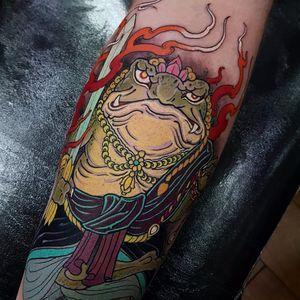 Fudo Frog by Elliott J Wells #ElliottWells #Japanese #color #Fudo #FudoMyoo #frog #nature #fire #sword #jewelry #lotus #tattoooftheday
