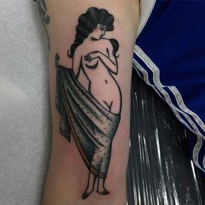 Lovely lady by Jemma Jones aka Wolfspit #wolfspit #Jemmajones #lady #color #traditional #pinup #color #fabric #nude #tattoooftheday