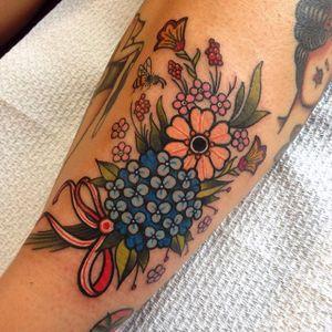 Miniature flower bouquet tattoo by Miss Quartz. #flowers #bouquet #miniature #floral #MissQuartz