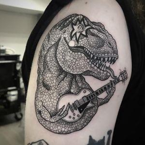 Kiss Trex tattoo by Suflanda #SusanneKonig #Suflanda #blackandgrey #lineworktattoo #dotworktattoo #trextattoo #dinosaurtattoo #guitartattoo #kisstattoo #Musictattoos #newtraditionaltattoo #tattoooftheday