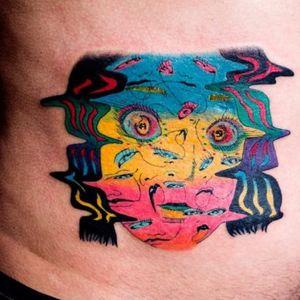 These eyes. Tattoo by Julian Llouve. #JulianLlouve #color #portrait #linework #surreal #eyes #ladyhead #watercolor