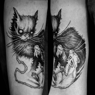 Cat and mouse tattoo by Sergei Titukh. #SergeiTitukh #blackwork #creepy #nightmare #creature #spooky #dark #monster #cat #mouse #rat