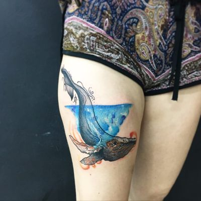 #ThiagoPinhas #tatuadoresdobrasil #traçofino #fineline #baleia #whale #aquarela #watercolor #colorida #colorful #greenpeace