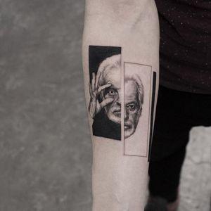 Jodorowsky tattoo by Oscar Akermo #oscarakermo #movietattoos #blackandgrey #portrait #realistic #realism #hyperrealism #AlejandroJodorowsky #surrealism #surreal #filmmaker #film #detailed