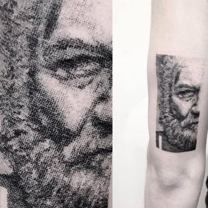 Stippled portrait tattoo by Vytautas Vy. #VytautasVy #blackwork #dotwork #portrait #lithograph