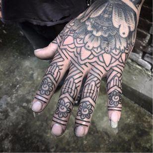 Ornamental tattoo by Kim Rense #KimRense #ornamental #linework #hand #blackwork