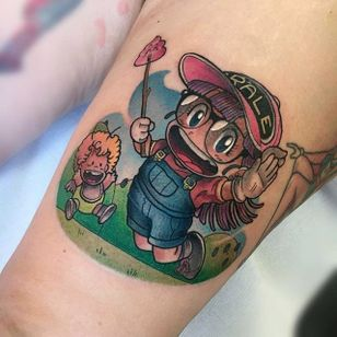 Arale Norimaki tattoo by Michela Bottin. #MichelaBottin #anime #dragonballz #arale #aralenorimaki #kawaii #cute #littlegirl #drslump