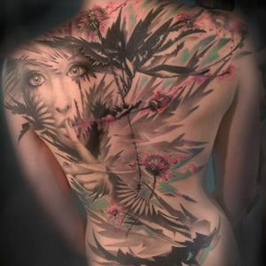 Poetic dandelion tattoo by Mich Beck #MichBeck #graphic #artistic #dandelion