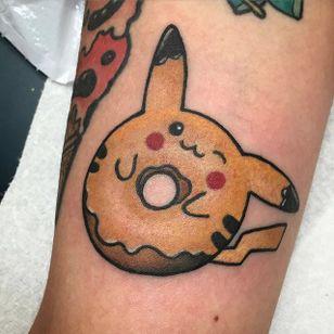 Donut tattoo by Christina Hock. #ChristinaHock #DolorosaTattooCo #donut #pikachu #pokemon