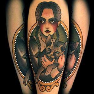 Wednesday tattoo #MyraBrodsky #neotraditonal #wednesday #AddamsFamily #sphinxcat
