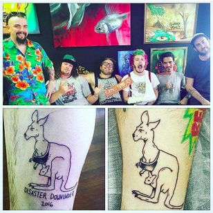 Pears down under with their fresh kangaroo tattoos by