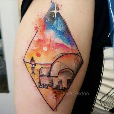 Tatooine #JosieSexton #gringa #watercolor #aquarela #tatooine #losango #losange #starwars #skywalker #casa #house #sun #sol #movie #filme #nerd #geek