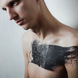 Abstract chest piece. #NastasjaBarashkova #abstract #contemporaryart #blackwork