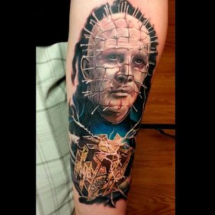 Incredible realism piece of Pinhead and the lament configuration box tattoo by Shinigami Sama #hellraiser #CliveBarker #cenobite #horror #movie #ShinigamiSama #pinhead #realism