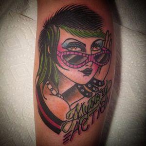 Badass babe by Kate Collins (via IG- @katecollinsart) #katecollins #girlsgirlsgirls #traditionaltattoo #ladyhead