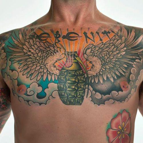 War veteran Jeff Slater's serenity tattoo #warink #exhibition #war #veteran #veterans #army #usarmy #soldier #chest #lettering #serenity #grenade #wings