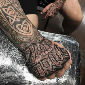 'Blue Eyed Devil' Tattoo by Dean James Mcleod #lettering #script #darklettering #blackwork #blacklettering #DeanJamesMcleod