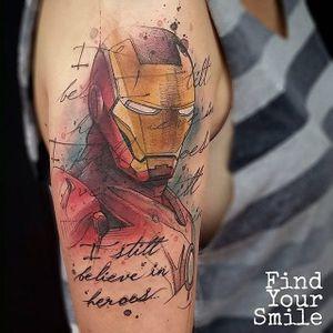 Iron Man tattoo by Russel Van Schaick. #marvel #superhero #ironman #comic #movie #tonystark #RussellVanSchaick #watercolor